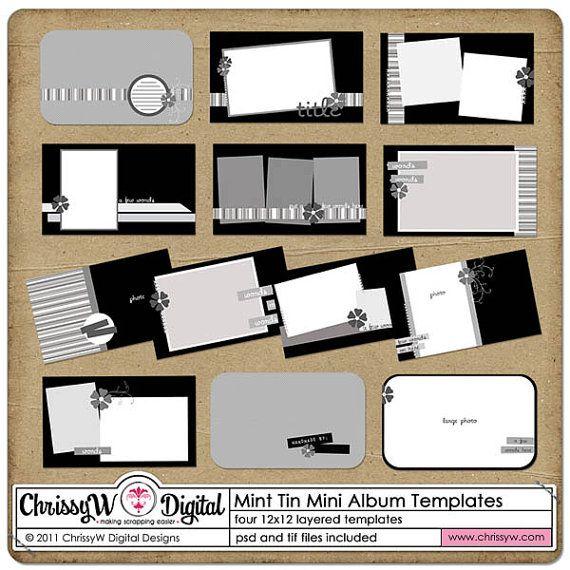 Mint Tin Mini Album Digital Scrapbooking Templates