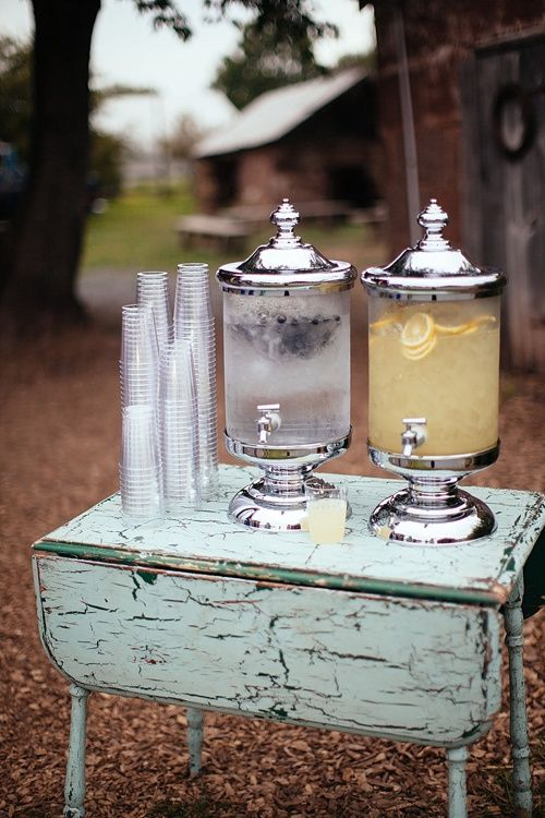 Our vintage drop leaf table makes a great spot for wedding guests to pour themselves some cold water and lemonade! Image by Pressed and Brewed photography. *Paisley & Jade vintage & Eclectic Furniture Rentals for Events, Weddings, Theatrical Productions & Photo Shoots*