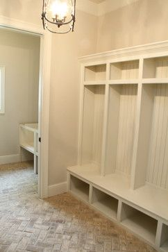 Brick herringbone floor in mudroom  Design Inspiration in