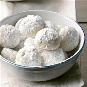 Triple Nut Snowballs Recipe -This super-crunchy, not-too-sweet cookie is a fun update on the classic snowball. I used cashews, macadamia nuts and pecans, but you can mix and match other nuts to your liking. —Thomas Faglon, Somerset, New Jersey