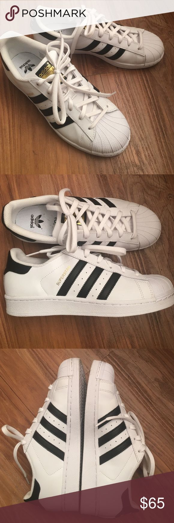 Adidas superstars Adidas superstars. Just like new. These are a size 6 in boys but I'm an 8 (women) and they fit perfectly. I only wore them twice. Not really my style. Price firm considering condition. No trades please. Adidas Shoes Sneakers