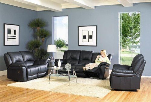 Teramo black leather match reclining 3pc living room group for Living room group sets