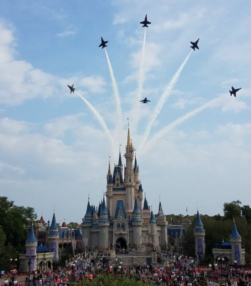 US Navy Blue Angels fly over the Magic Kingdom