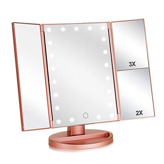 Tri Fold Lighted Vanity Makeup Mirror With 3x 2x 1x