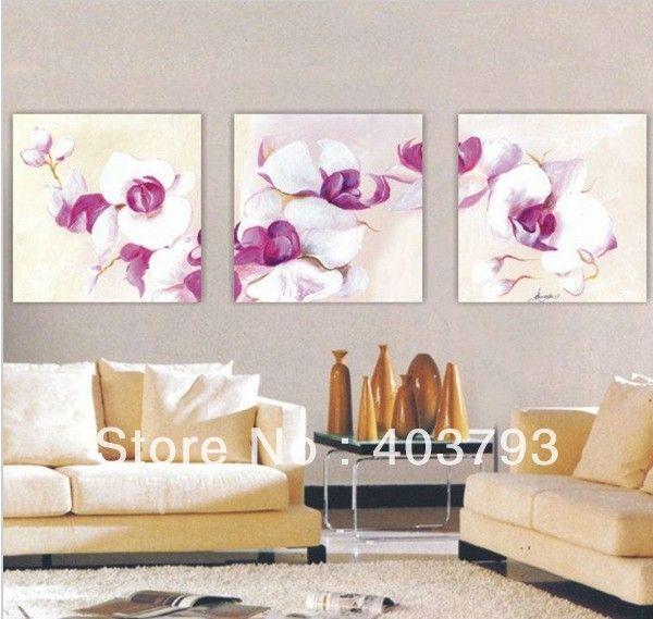 Купить в disscount цена современные Абстрактные картины маслом на холсте 3 панелей меньше белый цветок украшения бесплатная доставка