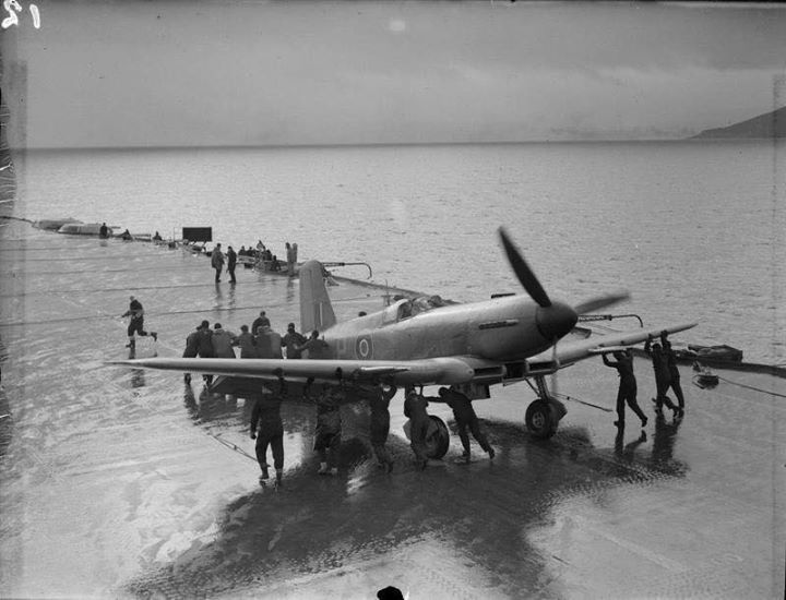 Blackburn Firebrand strike fighter during trials on board HMS Illustrious on the River Clyde Scotland 9th February 1943.