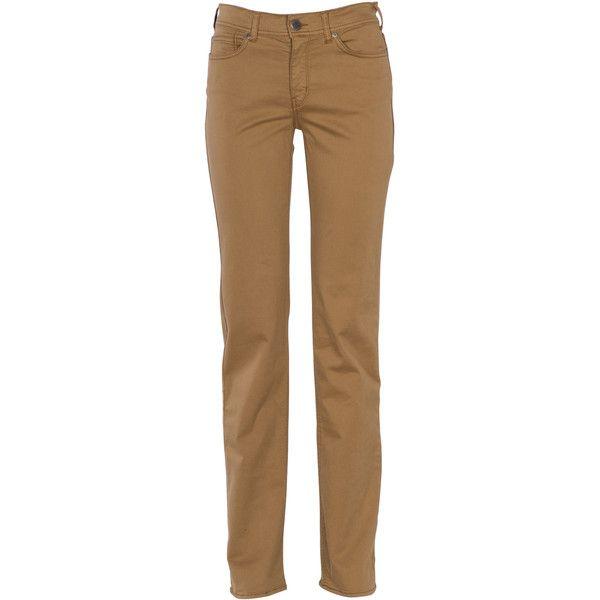 CIMARRON Jean droit Marron ($88) ❤ liked on Polyvore featuring jeans, pants, bottoms, camel, petite jeans, brown jeans, zipper jeans, cimarron and cimarron jeans