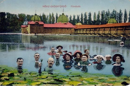 Bathers in Lake Hévíz around 1900.