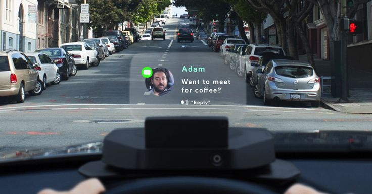 Navdy's transparent Head-Up Display (HUD) projects information as if it's floating six feet in front of you. In the car you already have.