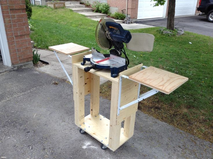 A mobile miter saw stand
