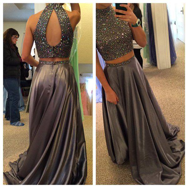 High Neck Prom Dress,Beading Prom Dresses,Long Evening Dress