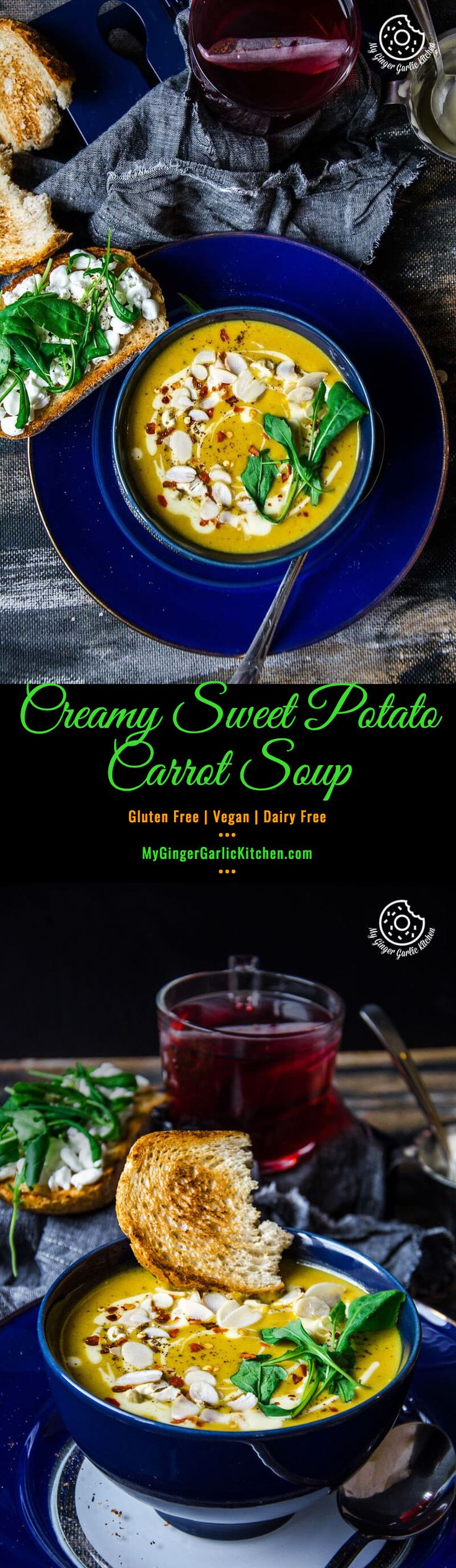 Creamy Sweet Potato Carrot Soup | A warming vegan, gluten-free soup with an appealing golden color.