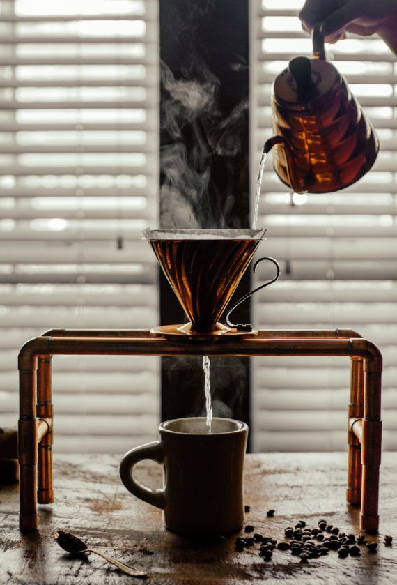 Hario V60 Copper Coffee Drip Station / Pour by FreyHandmadeGoods