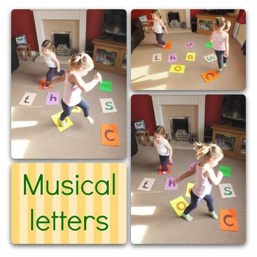 Children playing musical letters