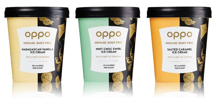 Oppo flavours. Left to right: Madagascan Vanilla, Mint Choc Swirl, and Salted Caramel.