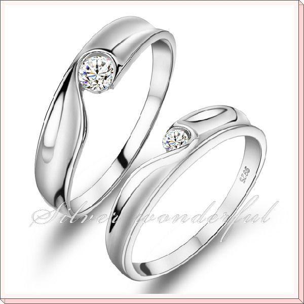 Zircon Heart Modeling 925 Sterling Silver Wedding Rings For Women 600x600