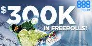 Incepand cu data de 9 februarie, 888poker va lansa noua promotie Poker Winter Games, ce consta intr-o serie de turnee freeroll, cu premii totale de $300,000. Timp de 4 saptamani jucatorii au ocazia de a participa la un freeroll zilnic, cu premii de $10,000, dar si la turneele freeroll finale, cu premii de $90,000. http://www.kalipoker.ro/promotii-poker/poker-winter-games-la-888poker.html