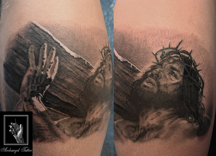 Passion + Jesus our redeemer tattoo by Gabor Smola. You can find more of my works on social network: www.instagram.com/gabor_smola, www.facebook.com/GaborSmolaArchangelTattoo