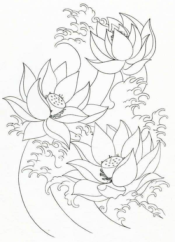 Lotus Flower, : Lotus Flower Painting Coloring Page