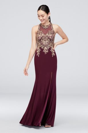ab514952a31a Shimmer and shine on the dance floor in this jersey sheath dress, featuring  metallic corded embroidery and a sheer neckline.