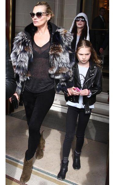 Who:    Kate Moss    What:    Isabel Marant T-shirt, Fendi fur coat, Azzedine Alaïa leggings and boots, and Stella McCartney sunglasses