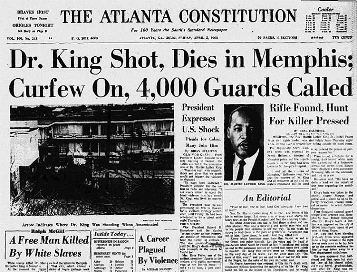 Front pages from Atlanta newspapers in the days after MLK's death