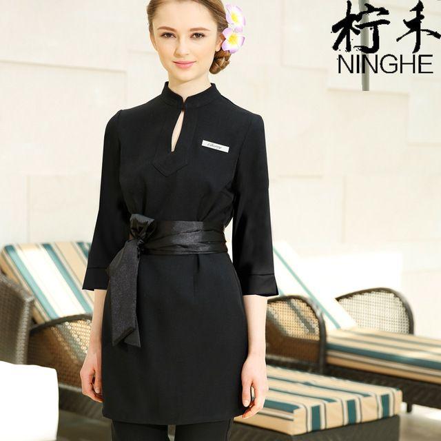 Werkkleding Lente/Herfst Thai Massage Uniformen Paars Lange Jurk + Broek + Lint 3 stks Sets Kwaliteit Uniformen goedkope Spa Kleding