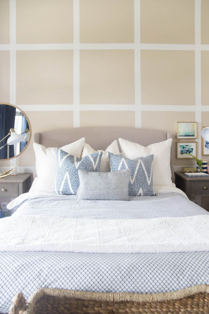 197 best beautiful bedrooms images on pinterest beautiful beautiful bedroom i love the grid accent wall with all of the calming blues and