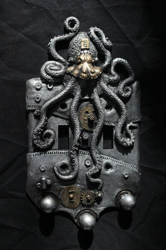 Buy Now Steampunk Octopus double switch plate. Wall art, sculpture, wall decor, home decor, housewares. by WainmanStudios 30.00 CADAmazing faux aged silver