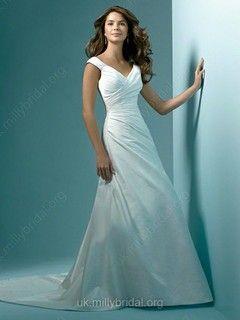 A-line V-neck Taffeta Sweep Train Ruched Wedding Dresses #00018725