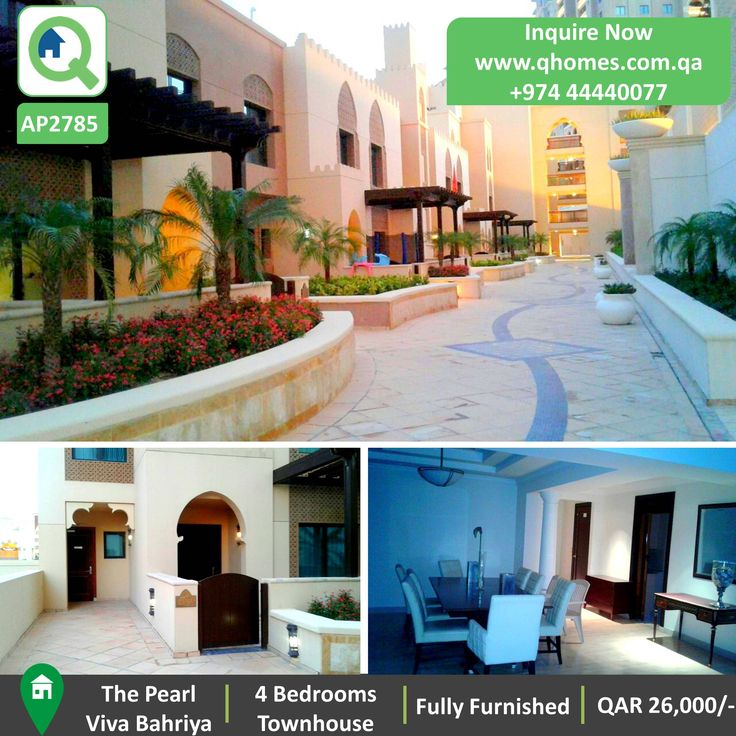 Townhouse for Rent in Pearl - Fully Furnished 4 Bedrooms Townhouse in Viva Bahriya at QAR 26,000/-