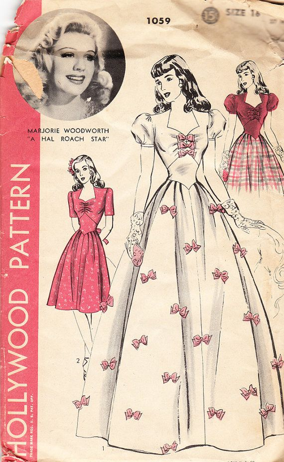 Vintage 1940s Misses Evening Dress With Bow trim or Day dress - Hollywood Sewing Pattern No. 1059 - Size 34 Bust on Etsy, $20.00
