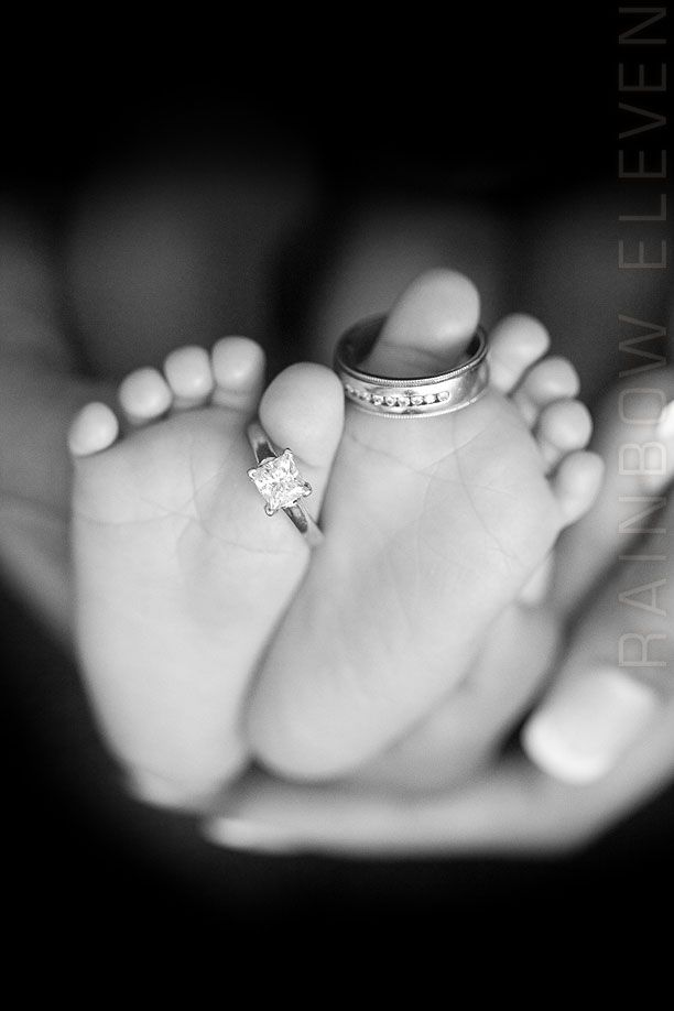 Baby's feet with mommy and daddy's wedding rings♥adorable!