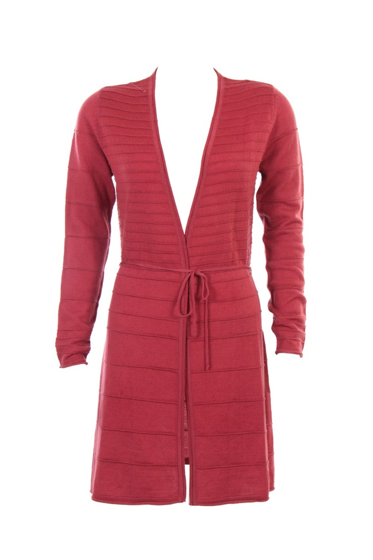 """""""Pink Tubular Self Stripe Cardigan In Acro Wool; 37"""" In Length"""" Outer Wear #Clothing #Fashion #Style #Wear #Colors #Apparel #SemiFormal #Casuals #W for #Woman"""