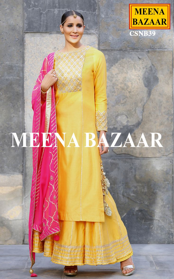 Contemporary and classy, highlighting gota and zardosi hand embroidery on yoke and cuff, this yellow chanderi sharara suit will definitely charm yourself up. Comes with georgette dupatta with gota jaal work and pleated chanderi sharara.