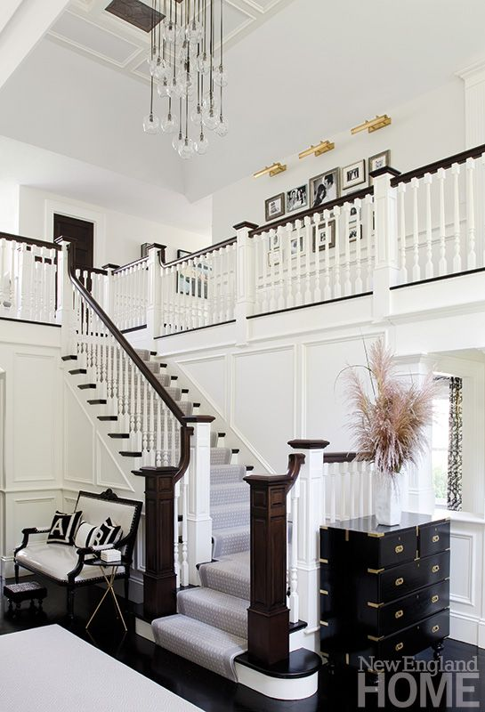 suburban Boston renovation; architects Kevin Gordon and Mark Kelly removed the third floor to allow higher ceilings; interior design Tricia Roberts and Noelle Micek
