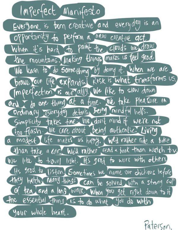Julie's 'Imperfect Manifesto'