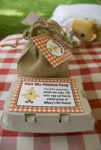 Farm party - use egg cartons as favour bags