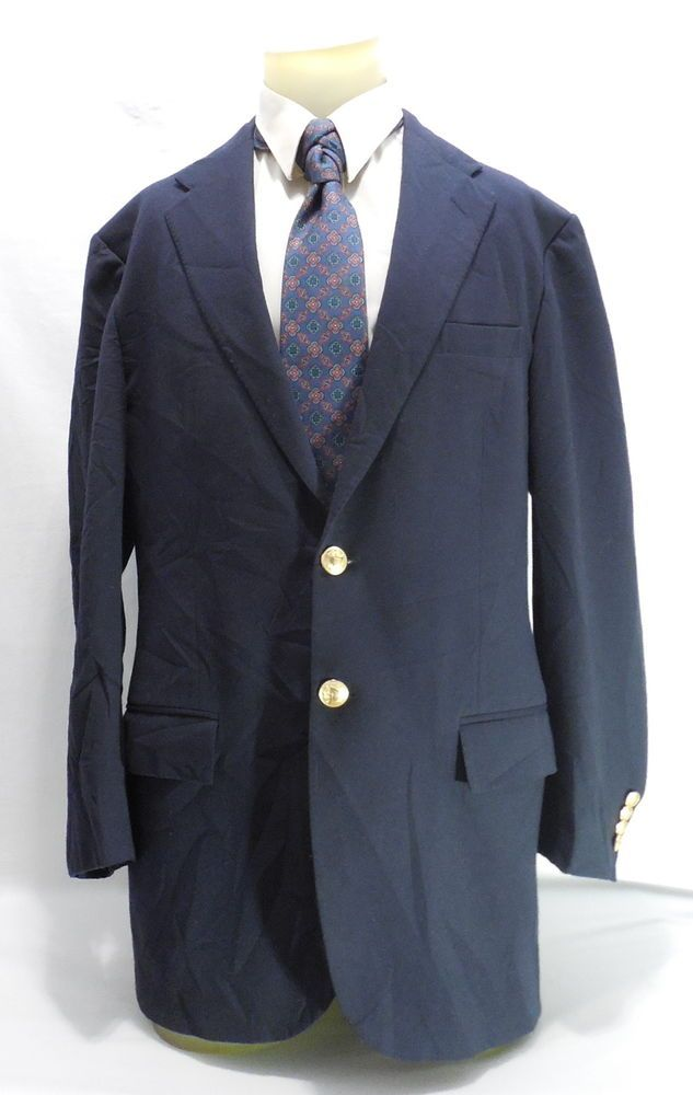 Polo Ralph Lauren Gold Button Blazer Mens Wool Navy Blue Made In Italy Size 41L