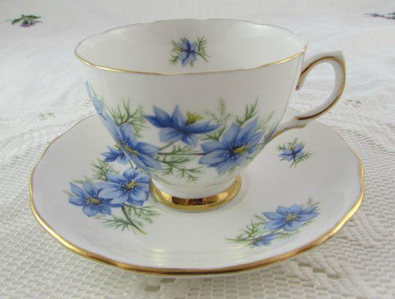 Colclough Blue Flower Tea Cup and Saucer