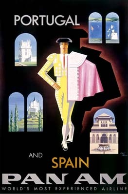 Vintage poster for travel to Portugal and Spain via PAN AM