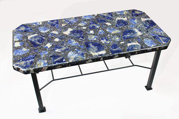 Handmade Brazilian Sodalite coffee table by ThirdRockStoneArt