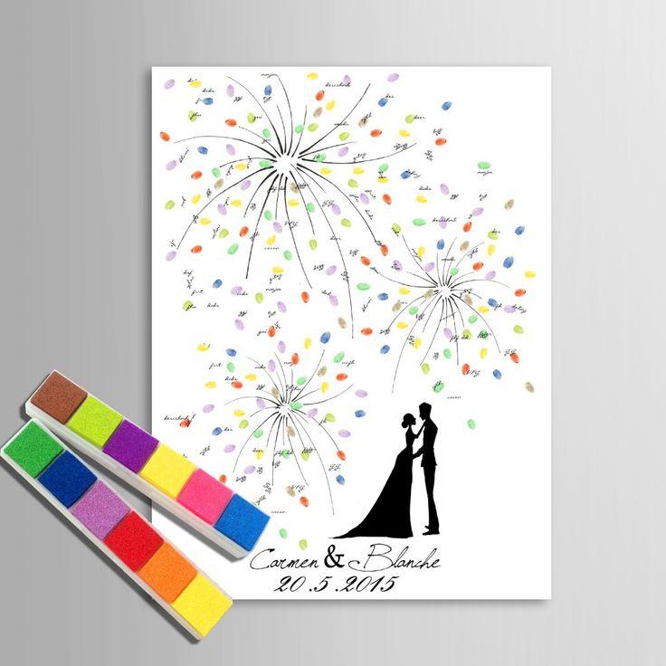 Personalisierte Fingerabdruck Hochzeit Gästebuch Baum Alternativen Hochzeit Fin…