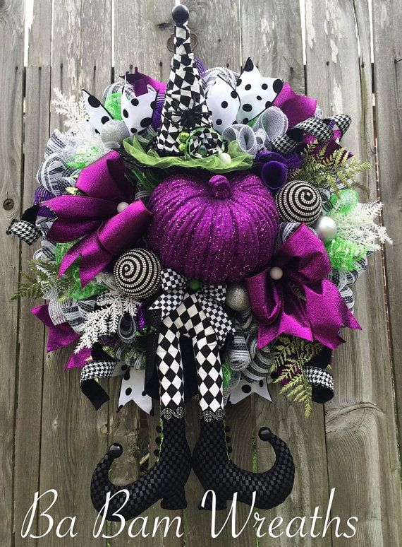 Deluxe Halloween Wreath Witch Wreath Halloween by BaBamWreaths