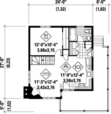 Plan 80555pm Simple One Bedroom Cottage Bedrooms Tiny