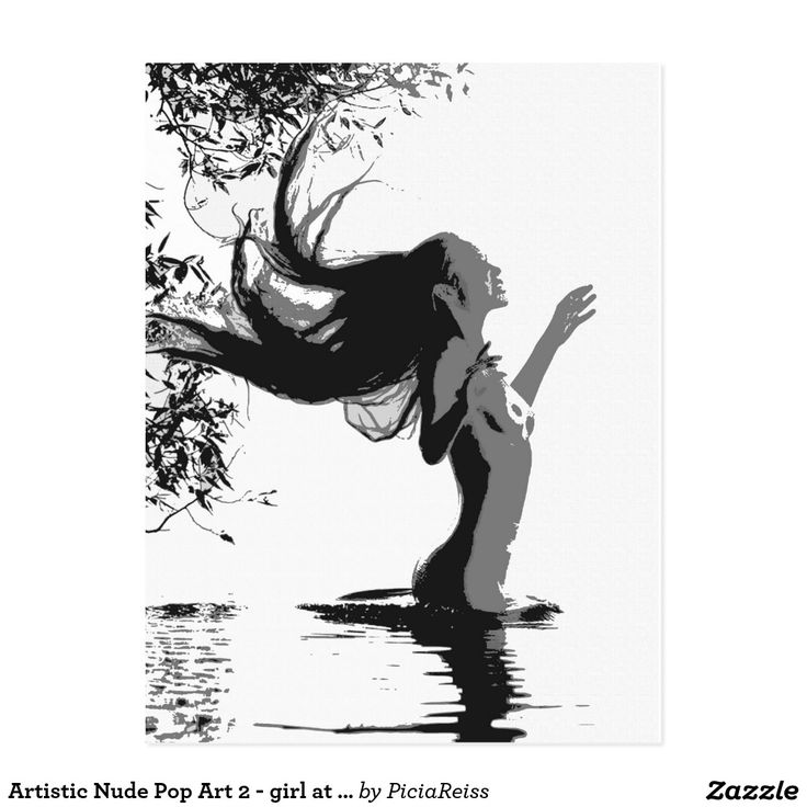 Artistic Nude Pop Art 2 - girl at lake postcard