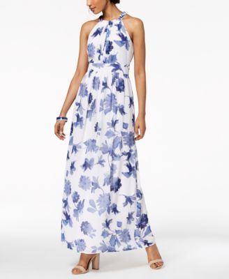 00749752048 Nine West Printed Halter Maxi Dress
