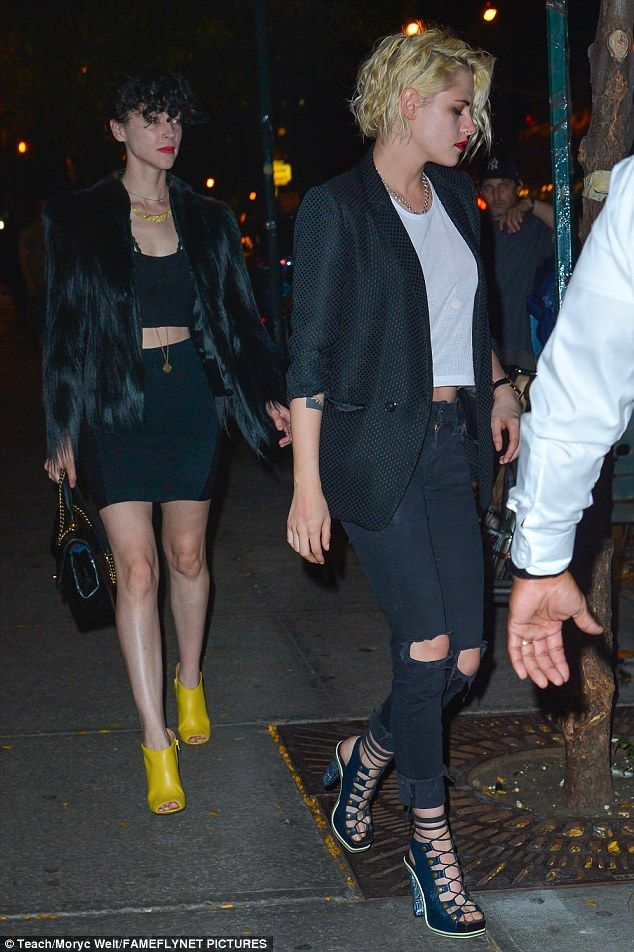 Ladies night out: Kristen Stewart, 26, stepped out with Cara Delevigne's ex girlfriend St. Vincent, 34, in New York City on Wednesday night