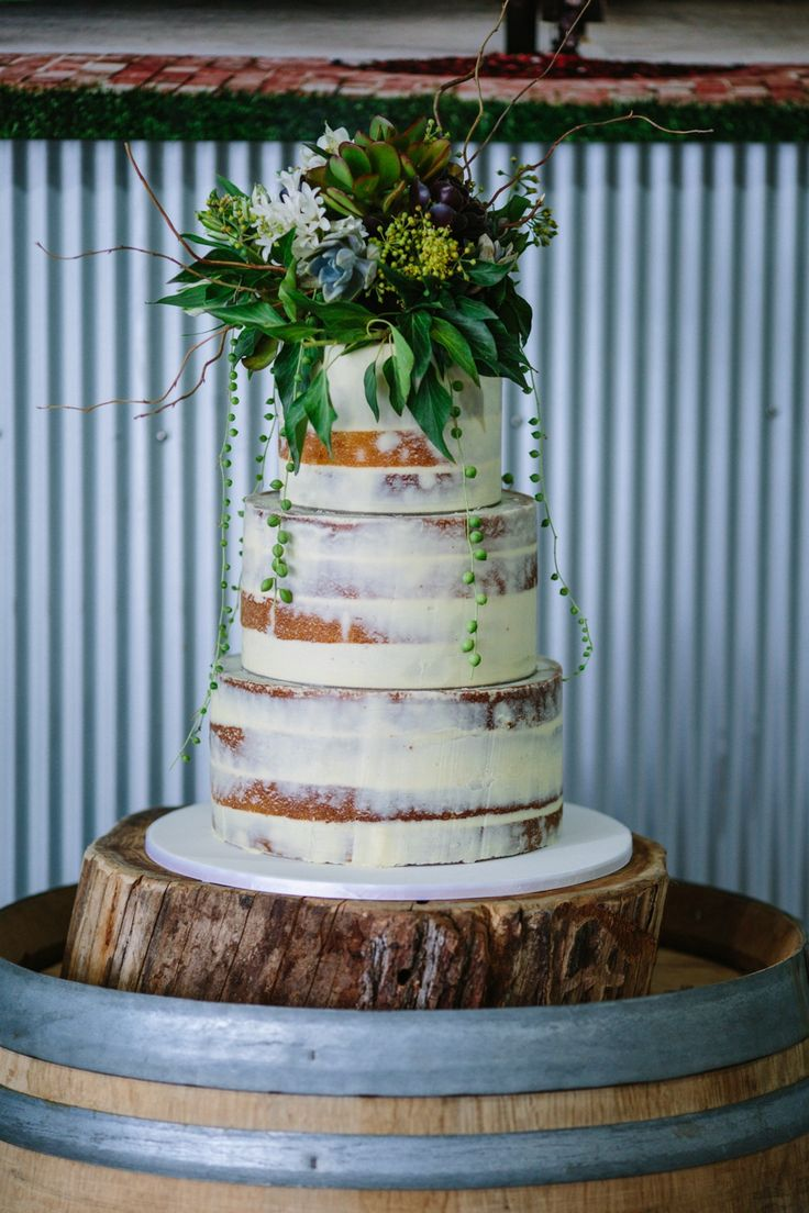 Naked wedding cake Photo Credit: Michael Briggs at Yarra Ranges Estate. Winery Wedding | Yarra Valley Wedding | Dandenong Ranges Wedding