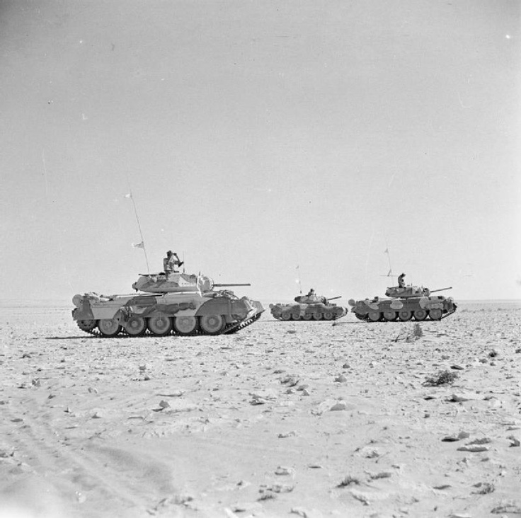 Crusader tanks on patrol in the Western Desert, 28 August 1942 #worldwar2 #tanks